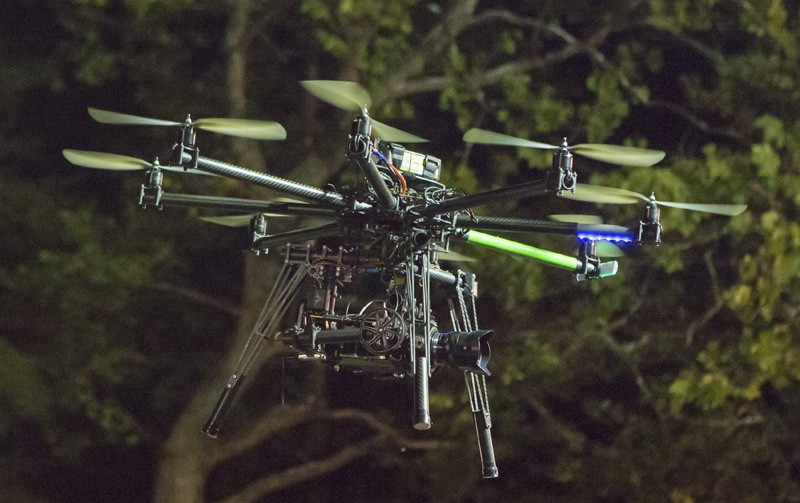 Octocopter filming the action