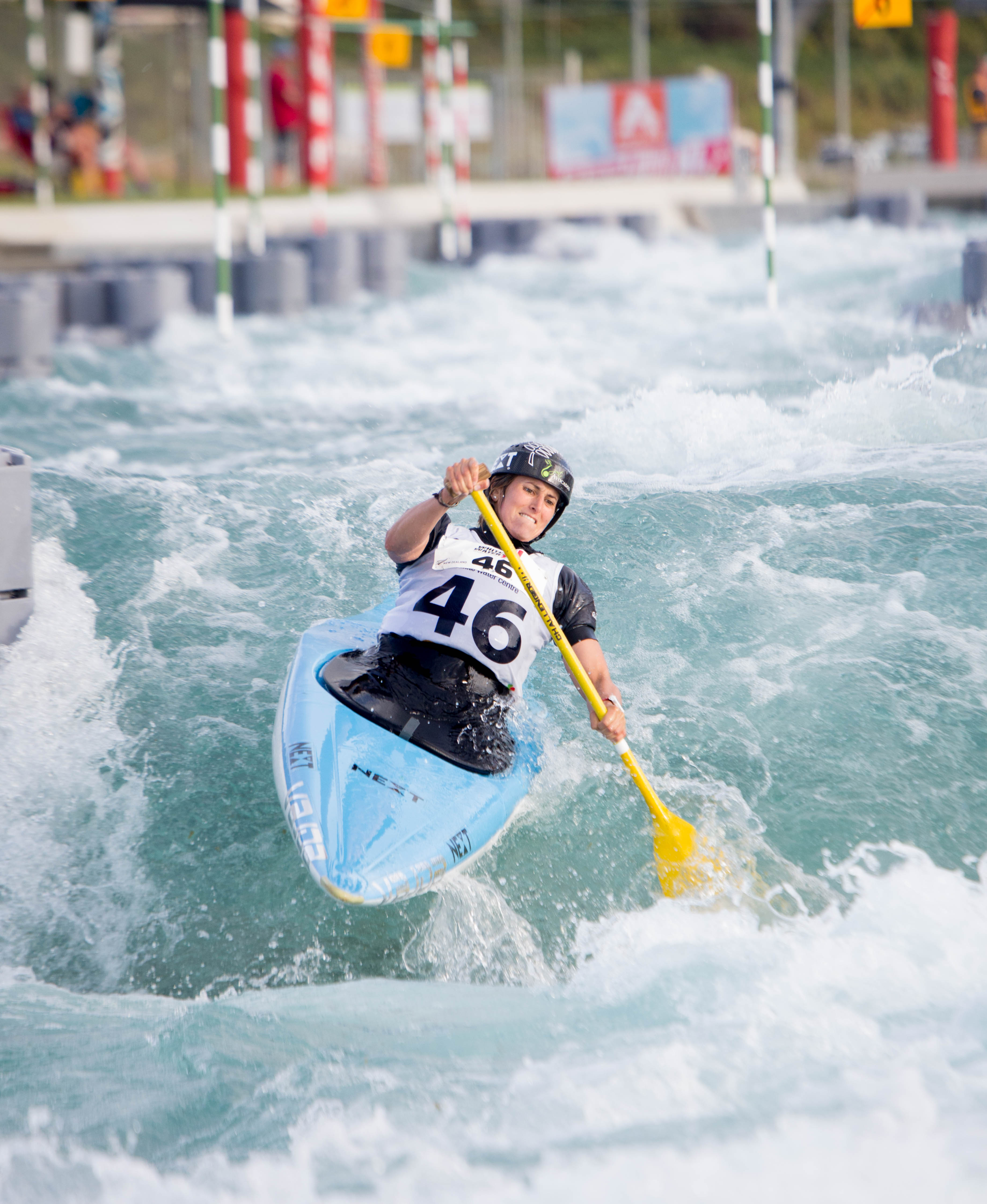 New Zealand kayaker Luuka Jones competing in the C1 class at the Whitewater XL event in AUckland this week. Photo by Jamie Troughton/Dscribe Media Services