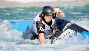 Action from finals on the first day at Whitewater XL at the Vector Wero Whitewater Park in Auckland, featuring head-to-head shoot-outs in C1 and K1.  High-res media files available on request.  Photo by Jamie Troughton Dscribe Media Services info@dscribe.co.nz