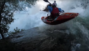 Hayden Voorhees running a huge waterfall in chile