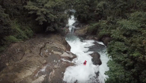 Nouria newman run a slide during the first descent of the Upper Urimi, Kerala, India