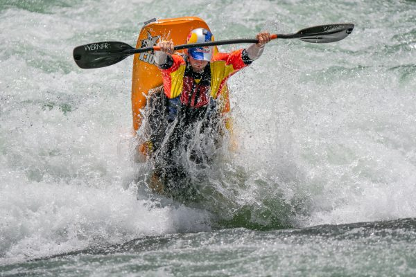 Dane Jackson is looking right at home as he goes huge in a training ride ©Peter Holcombe/ kayaksession.com