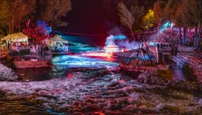 Sort playspot by night during ICF Freestyle Worlds 2019©Peter Holcombe: kayaksession.com