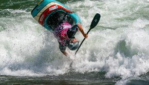 Reigning world champion Joaquim Fontaine Maso takes the lead once again in the quarter final rounds. ©Peter Holcombe:kayaksession.com