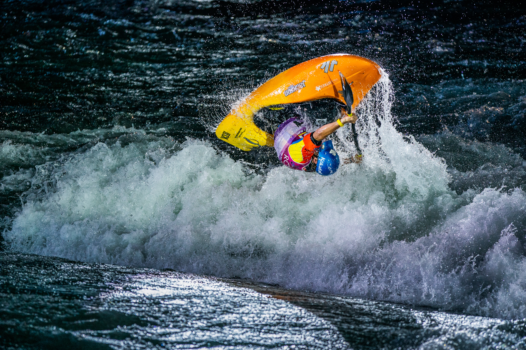 Some of the biggest air of the event was from the flying Frenchman, Tom Dolle. ©Peter Holcombe: kayaksession.com_Edit