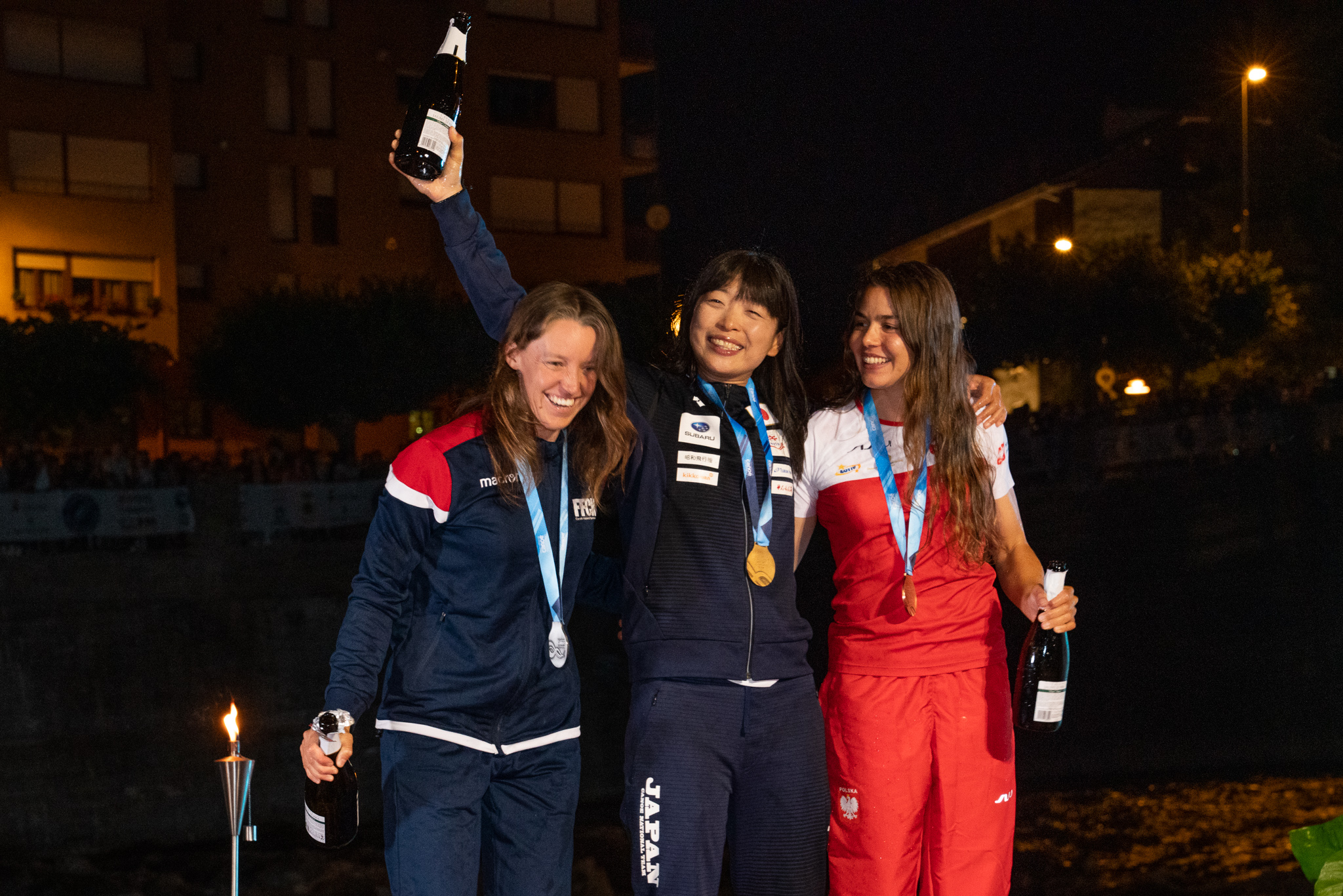 Women's Podium - Marlene Devillez (France), Hitomi Takaku (Japan) and Zofia Tula (Poland)©Peter Holcombe: kayaksession.com