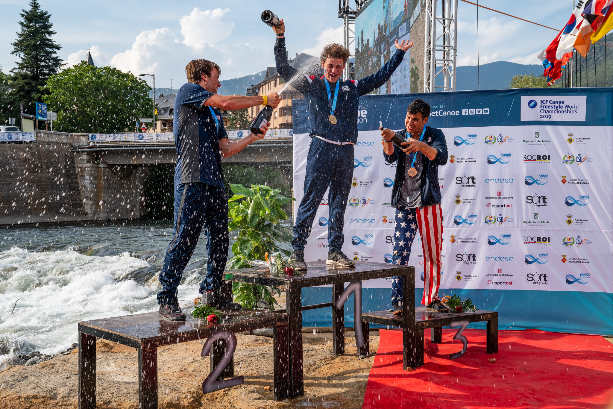 World Champion Tom Dolle (France), 2nd Place Dane Jackson (USA) and 3rd Jorden Poffenberger (USA)