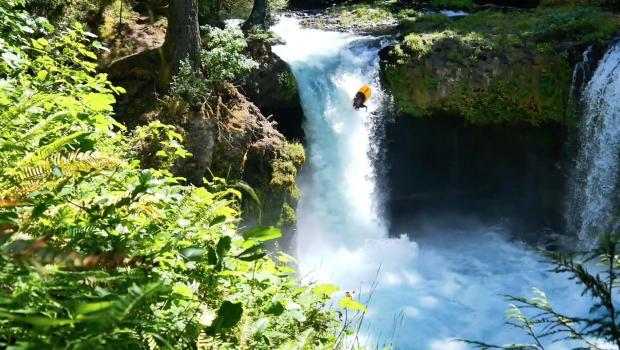 Aniol Serrasoles throwing the first ever Orbit Flip off Spirit Falls,