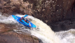 Rhys James (wales) running a drop in his kayak in wales
