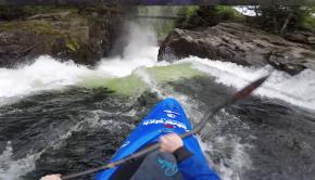 Ruben J. Davidsen runs Nose Breaker waterfall in Norway.