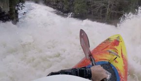 Canadian paddler Juan lavin running a huge slide waterfall in canada