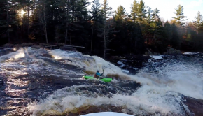 Canadian paddler Kai malcolm running a slide drop in Canada