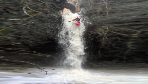 Basque Country paddler Manu Rodriguez paddling a waterfall in spain