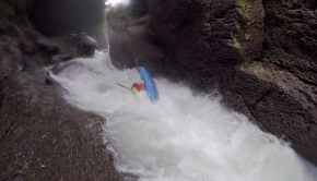 French rider Kevin Monlezun getting back looped in the rapid leading to Tomata 2 on the Alseseca in Mexico.