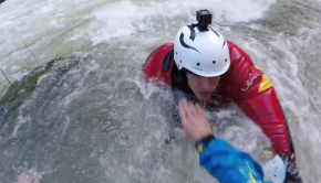 kayaker getting rescued on the loue river in france