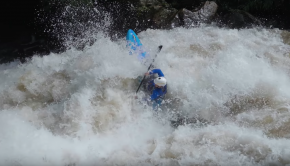 Bren Orton running a class 5 rapid in the Meghalaya region in India