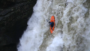 Thomas Neime running the third descent of the Saut du Doubs in France