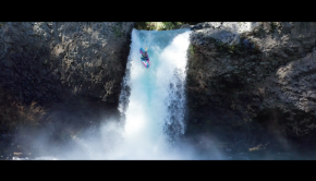 14 years old Florencia Aguirre from Pucon, Chile runs a waterfall near her home in Pucon in Chile