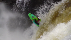 Kaelin friedenson sending a freewheeling off a waterfall. ©kayaksession.com