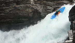 French Rider Arthur Bernot running a waterall in Norway in his Pyranha kayaks