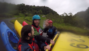 Canadian kayaker Jimmy Belanger with freinds in Ecuador running shttle in the back of a pick-up truck.