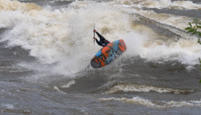 British kayaker Nick Beavis surfing river waves on canada