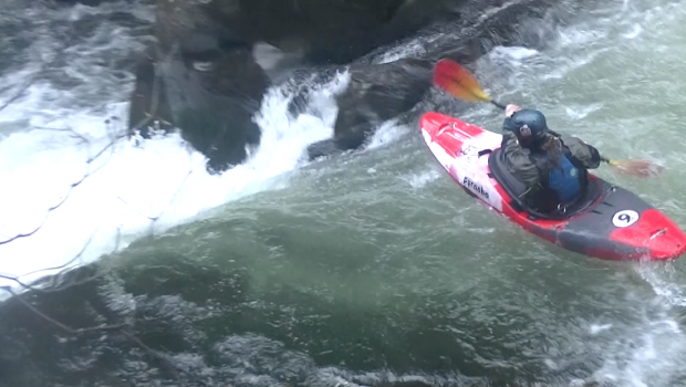 Brent Stoppe runs a river in winter in the PNW ©kayaksession.com