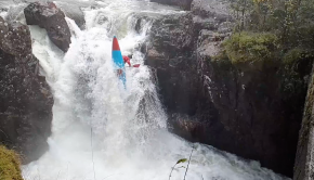 Scottish rider Jack Watt throwing a freewheel off a waterfall in his kayak in Italy