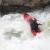 Austrian kayaker paddling big water on the zambezi river forming the border between Zimbabwe and Zambia in africa.