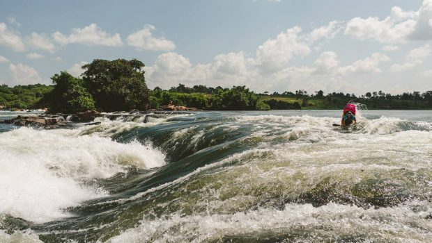 Sam Ward about to drop on superhole on the Nile river in uganda