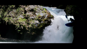 British paddler Alex Neal kayaking the Palguin river in Chile near Pucon.