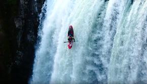 Spanish kayaker Jan Larrue running Tomata Falls in Mexico in his kayak.