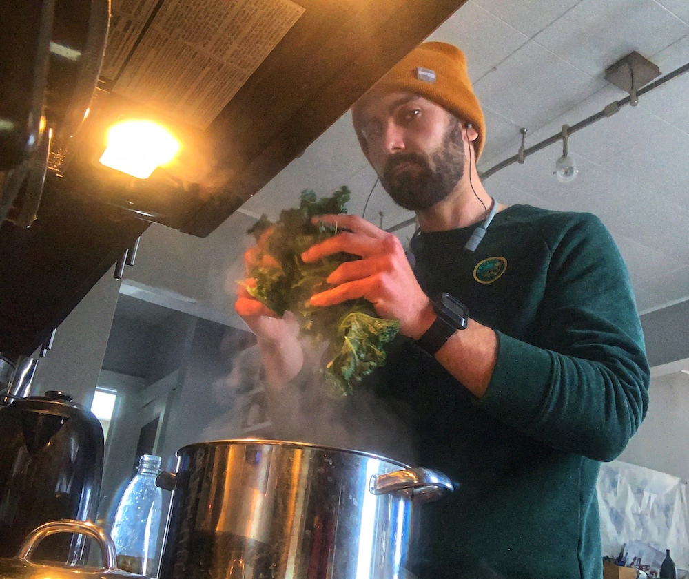 Ottawa river based British paddler Seth Ashworth cooking at hiome during corona stay at home
