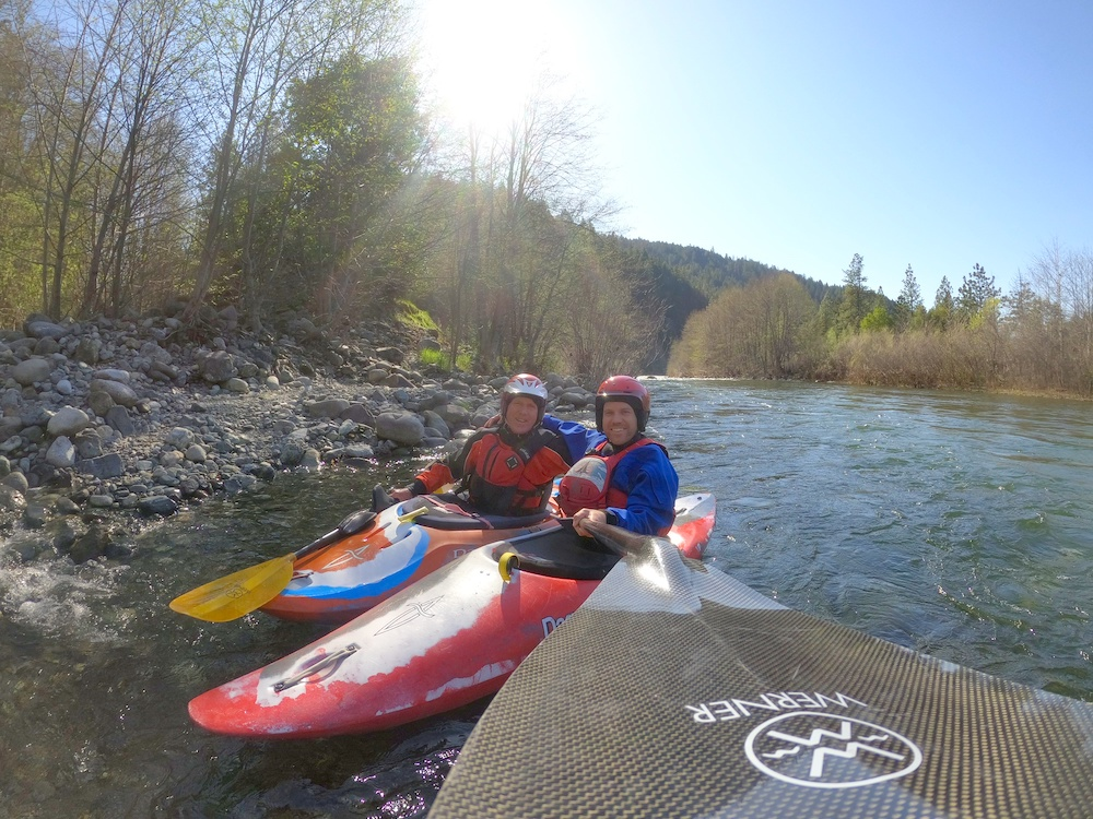 Rush and Peter Strurges Paddling in Northern California near Otter bar kayak School