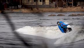 Freestyle kayakig in finland with Visa Rahkola on Kultaa on the Kymi river.