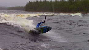 "Check freestyle machine Tuomas Kaukola (Finland) sending one some of the hundreds of ""Ottawa like"" waves to be found in the Finnish Lapland."