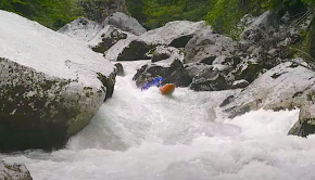 Bren Orton kayaking in Lofer (Austria) on Teufelschluct one of the best sections of class 4 in Europe