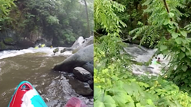Watch Ben Giersch getting stuck in a hole for 7 + minutes above Kahuna Falls on the Nantahala Cascades. Luckily Ben's mate were there and got him out of of it. Situated right above Kahuna falls swimming was not an ideal option...