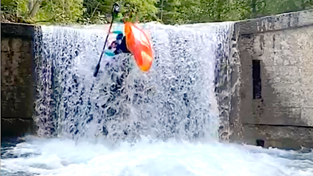 French rider Ben Mesle sending a nasty Superman Flip in the Fournel drop in France.