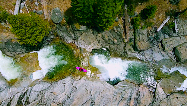 Ehrland Hollingsworth whitewater kayaking on the south silver in california.