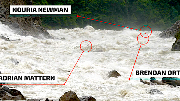 Adrian Mattern, Bren Orton, and Nouria Newman take on a high water run of a humangous rapid on one of the tributary of the infamous Tsangpo river in Tibet during Monsoon. All three sharing simultaneously their high and lows of this unreasonable descent. Come hell or high-water.