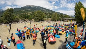 Paddlers at the start of the Grande Descente, as part of the Durance Festival 2020 ©Richard Bord/kayak session mag