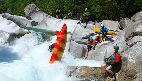 Hilarious chain beater with most paddlers of a group getting stucks one after another in a sticky pocket eddy at the reception of a drop on the Verzasca in Ticino (Switzerland). Shot during a paddling trip across France, Italy, Switzerland and Austria during the summer. 3 weeks of friends, sends and stubbies!
