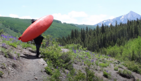 American kayaker Elliot Berz on his way up to paddle the Ho Be Joyfull section in Colorado
