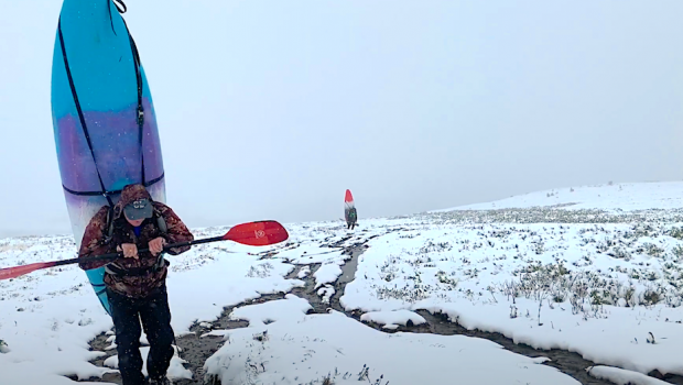 Kirill Kosogorov and friends on the way to paddle the first Descent of the Ugul Creek in Altai mountains of russia.