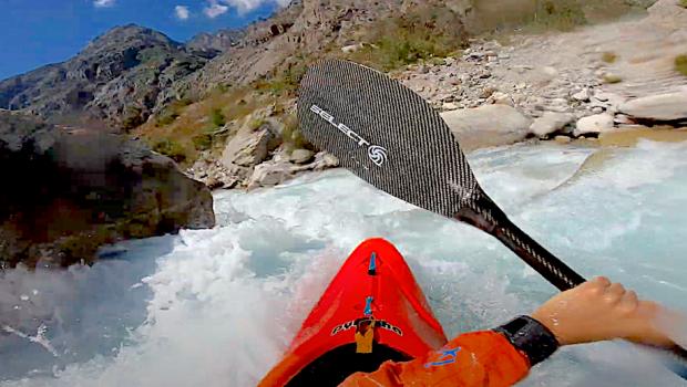 French rider Arthur Bernot down the majestic Veneon river near Grenoble in France.
