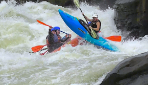 Hilarious beater on Pillow Rock on the Gauley river when a raft runs over Michaela Phelan and then is thrown in the air by the raft's bow onto Volkswagen rock below pillow. A Gauley fest kayakers nightmare!