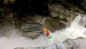 Canadian paddler Luke Longridge sending 50/50 on the Ashlu a little too hard and hit the walls on river right pretty hard, and then gets beat in the bottom hole. BEATER!