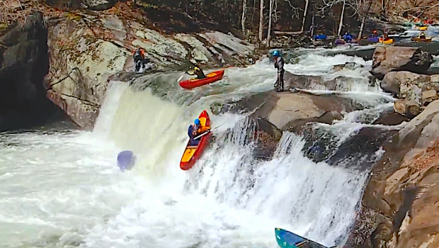 Fun chain beater featuring a bunch of open canoes at baby falls on the Tellico River in Tennessee (Usa) during the Aint Louie Fest (ALF)