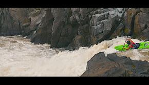 kayaker racing at the 2020 Great Falls race on the Potomac river near Washington DC. (USA)